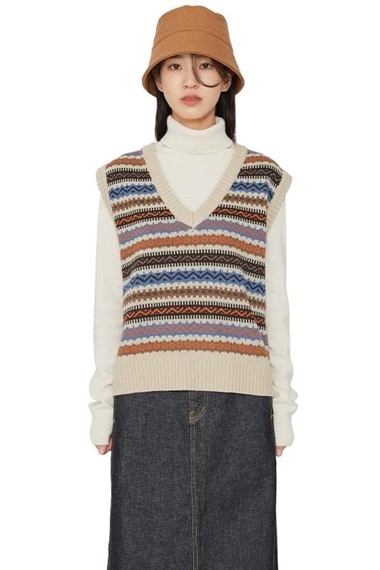 Wea pattern V-neck knit vest 針織衫