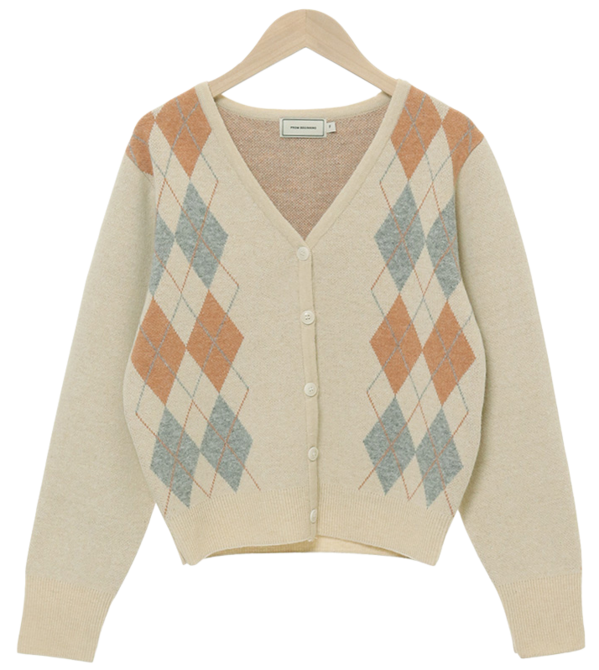 Pudding Argyle Wool Cardigan