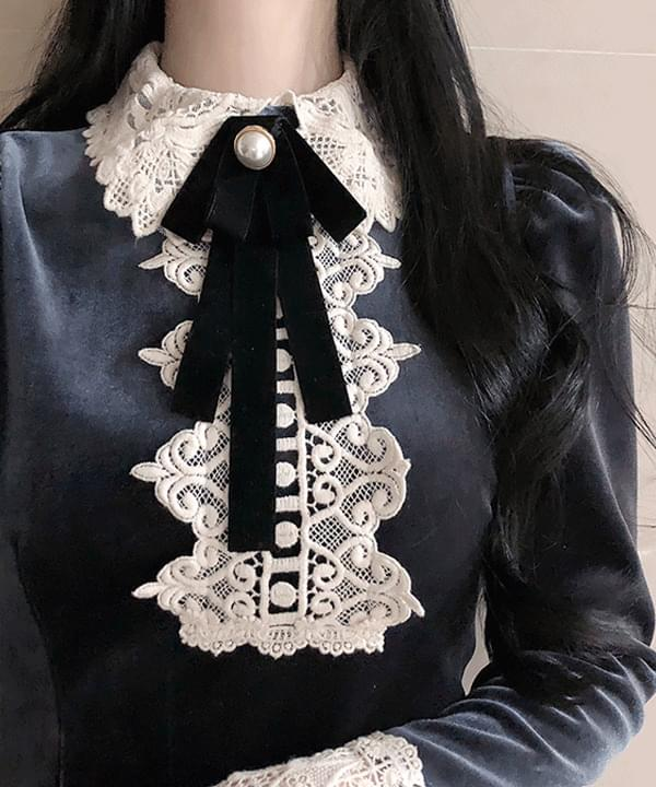 Brooch set Jewelle lace velvet dress 洋裝