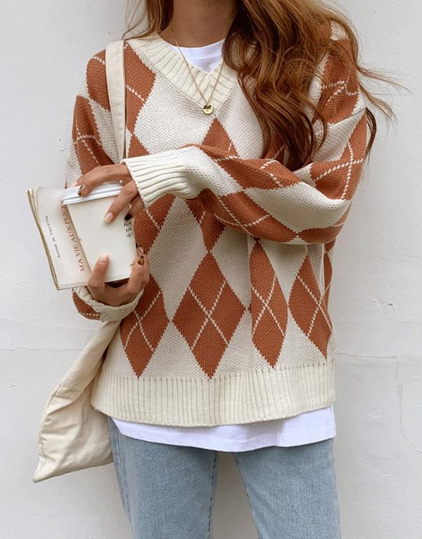 From Argyle V-Neck Knit