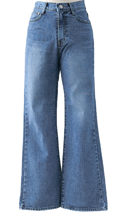 Medium blue washed straight trousers