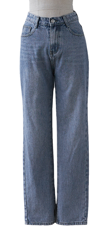 Straight split denim pants