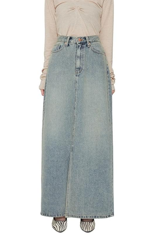 Old straight denim maxi skirt