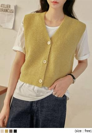 ROMAS BUTTON V NECK KNIT VEST