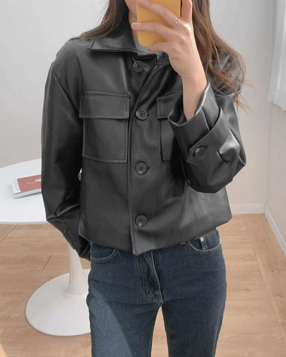 Two pocket leather jacket-2color