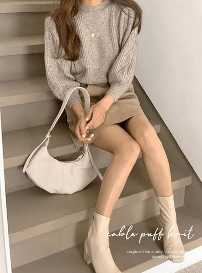 Cable puff knit