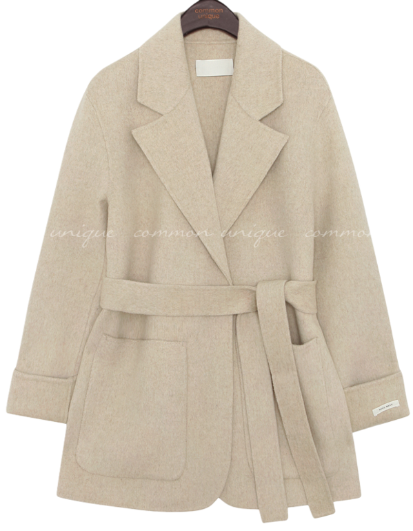 Notch Lapel Tie-Waist Short Coat