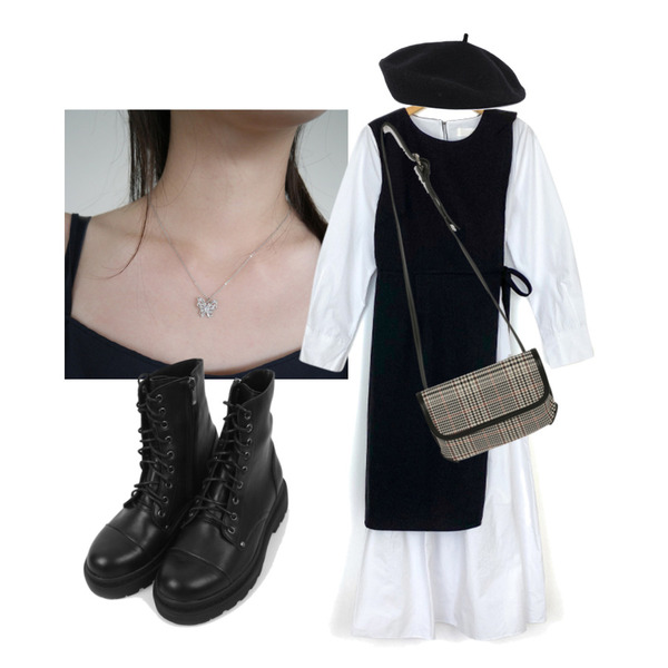 biznshoe Simple beret,AFTERMONDAY shining butterfly pendant necklace,somedayif 레슬리 체크 크로스 숄더 백등을 매치한 코디