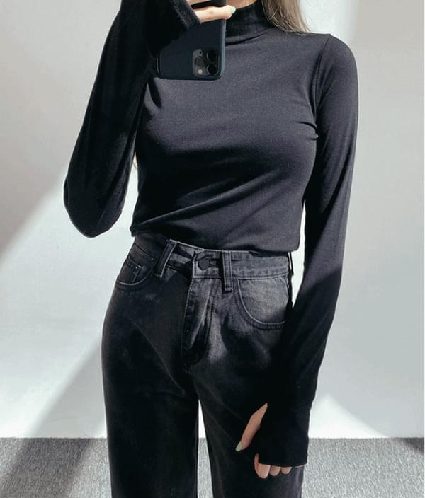 Thumbhole Accent Turtleneck Top