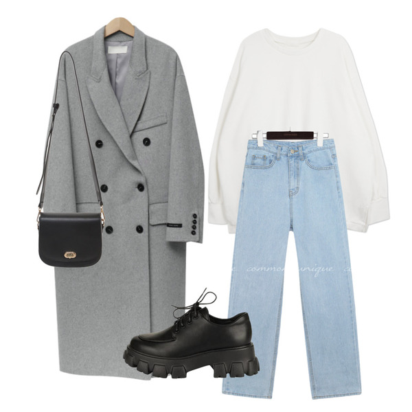 From Beginning Over double handmade coat_M (울 90%) (size : free),common unique VOYDI ROLL UP WIDE DENIM PANTS,Zemma World 'kindly' 프린팅맨투맨등을 매치한 코디