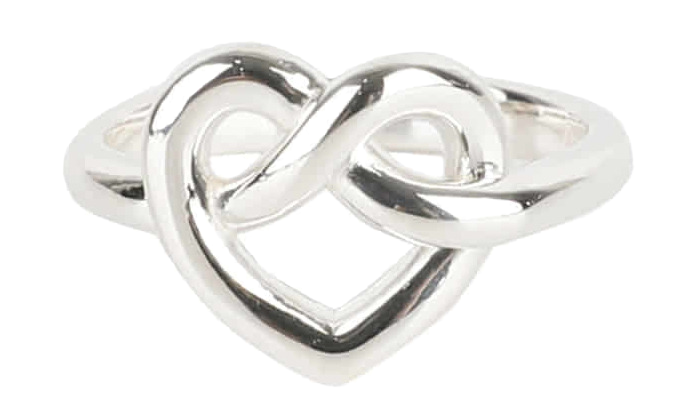 Heart pretzels silver ring