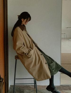 Celine Corduroy Color Matching Coat