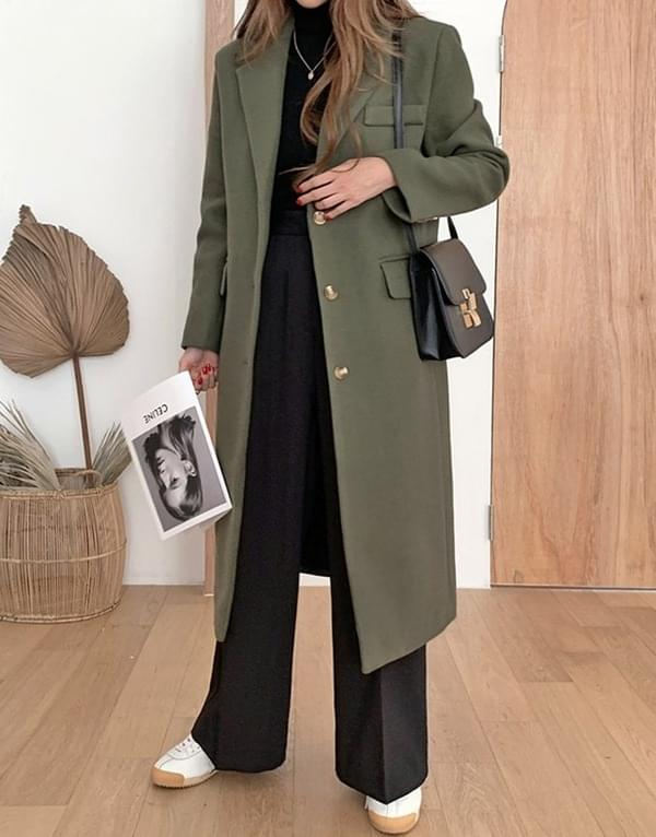 Mystic Khaki Single Long Coat