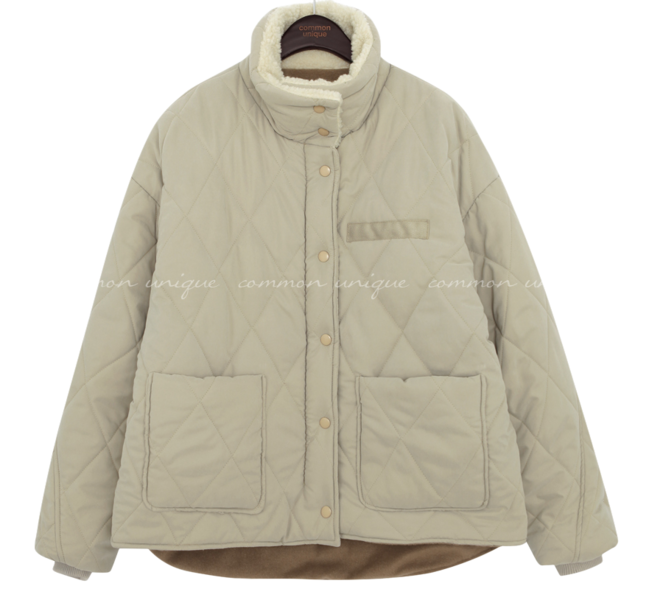 Convertible Collar Quilted Jacket