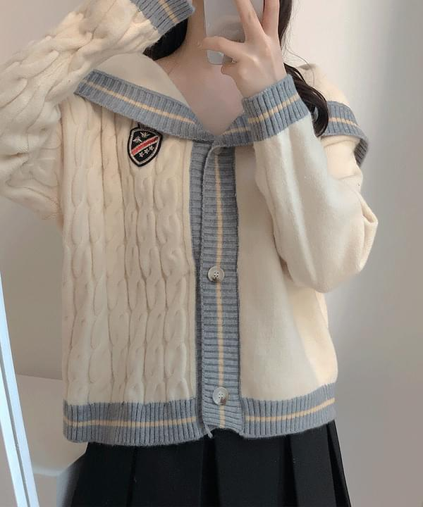 Heize Sailor Twisted Knitwear Cardigan 2color