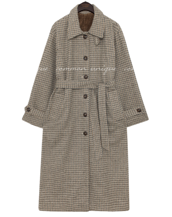 WOOL CHECK FUR LINING LONG COAT