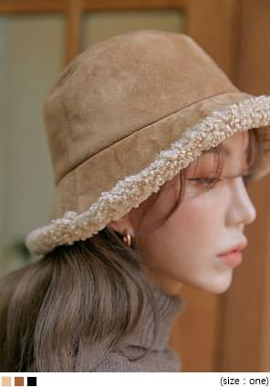 HONEY SUEDE FUR BUCKET HAT