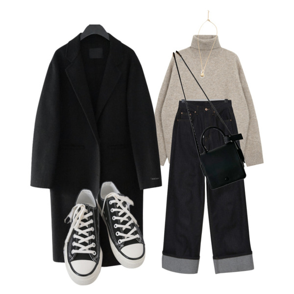 AFTERMONDAY classic mood button coat (2colors),AFTERMONDAY basic casual color sneakers (10colors),AWAB 모니스스퀘어백등을 매치한 코디