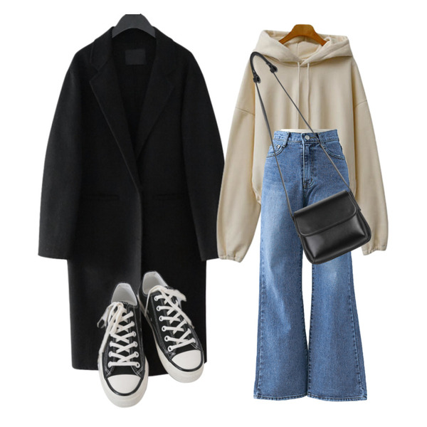 AFTERMONDAY classic mood button coat (2colors),ENVYLOOK 크롭스트링기모후드,AFTERMONDAY basic casual color sneakers (10colors)등을 매치한 코디