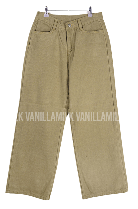 Cotton Stitched Straight Fit Wide Pants