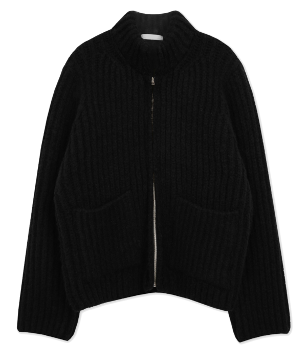 Simple Black Heavy Wool Knit Zip Up