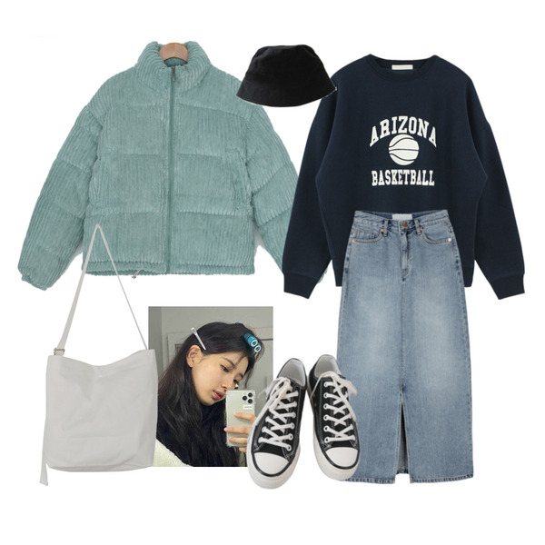 AFTERMONDAY basic casual color sneakers (10colors),BITDA 바스티 hat (4color),UPTOWN HOLIC 투게더 에코 bag (*3color)등을 매치한 코디