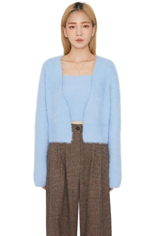 Puppy Angora sleeveless set cardigan