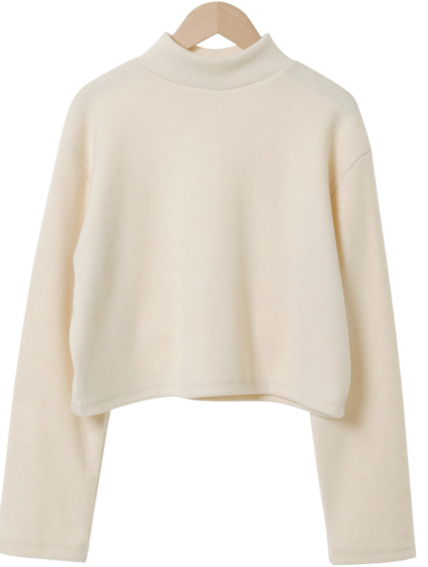 Crepe Warm Turtleneck Cropped T-shirt