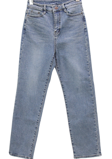 Melo brushed high waist straight jeans 牛仔褲