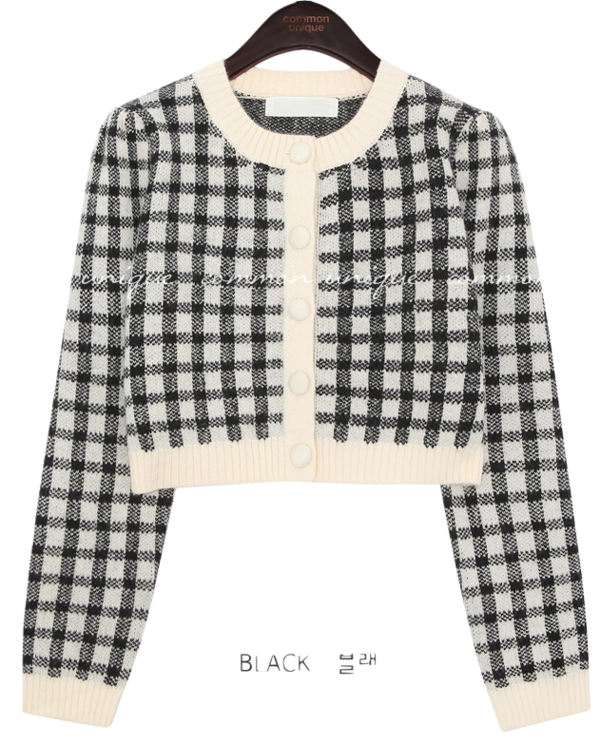 Wool Blend Check Cropped Cardigan