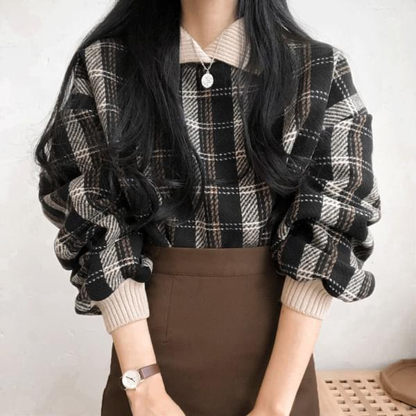 Bunny check collar knit
