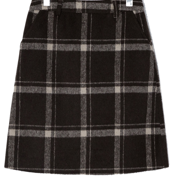 West Wool Check Skirt