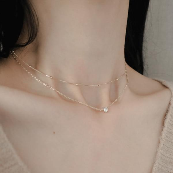 1059 Minimal Cubic 2-Line Necklace 項鍊