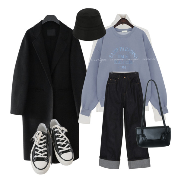 AFTERMONDAY classic mood button coat (2colors),AFTERMONDAY basic casual color sneakers (10colors),somedayif 어텀 울 버킷 햇등을 매치한 코디