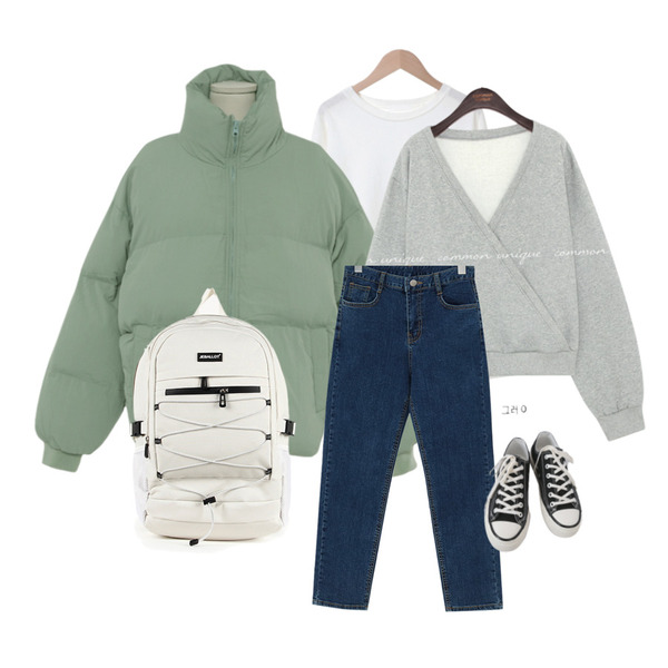 From Beginning 베이직 슬림일자데님팬츠 (3color),BULLANG GIRL YB엑스라인 백팩,AFTERMONDAY basic casual color sneakers (10colors)등을 매치한 코디