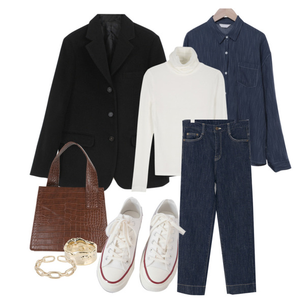 From Beginning Mood indigo denim pants_J (size : S,M,L),AFTERMONDAY basic casual color sneakers (10colors),From Beginning 펜슬스트라이프 루즈핏셔츠 (2color)등을 매치한 코디