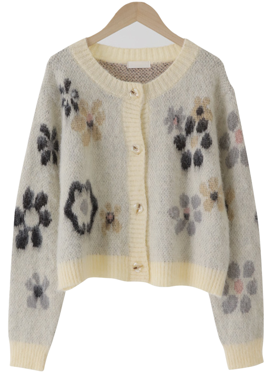 Hairy Flower Wool Crop Cardigan