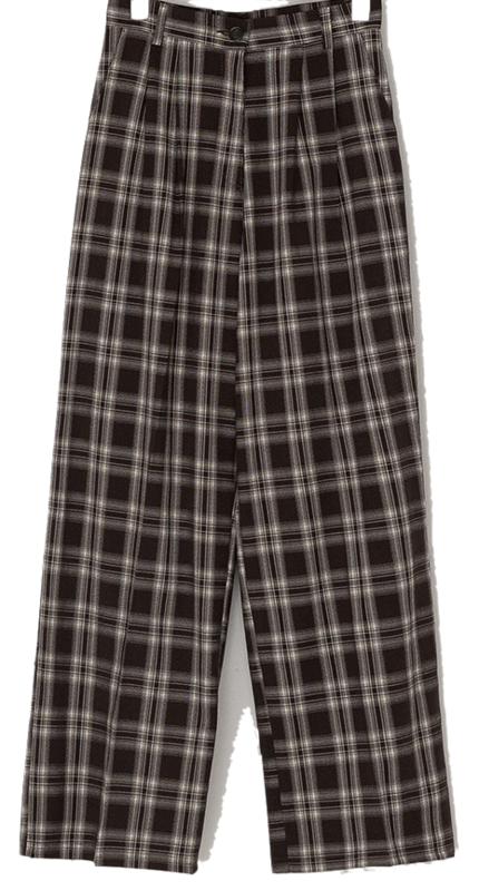 From pintuck wide check slacks