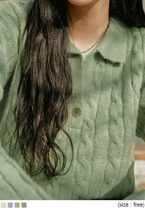 MOBLE TWIST BUTTON COLLAR KNIT