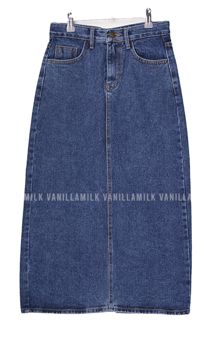 Pang Pang Split Long Denim Skirt