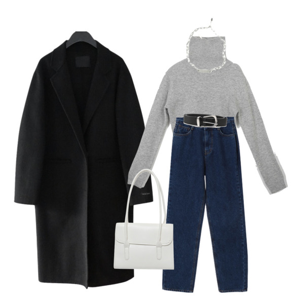 AFTERMONDAY oval chain necklace,AFTERMONDAY classic mood button coat (2colors),openthedoor cow hide mannish belt (3 color)등을 매치한 코디