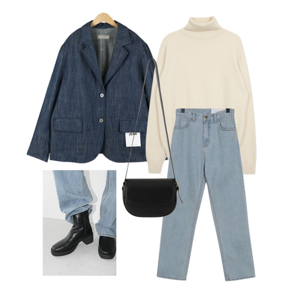 From Beginning MORE JEAN_vintage(light blue) (size : S,M,L),From Beginning MORE JEAN_MOOD Jacket,AFTERMONDAY bold square ankle boots (3colors)등을 매치한 코디