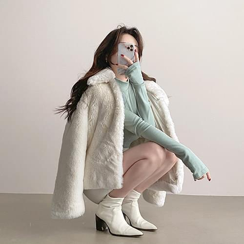Fake mink artificial fur jacket without missing hair