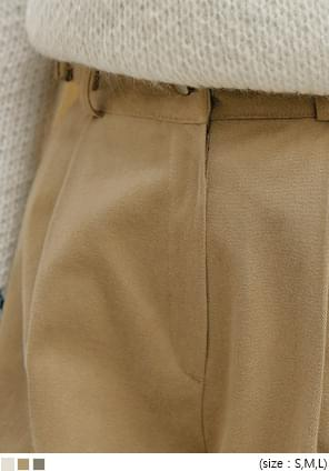 Buckled Strap Accent Pleated Pants