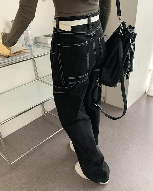 Oben Black Blue Stitch Long Wide Strap Denim Work Pants
