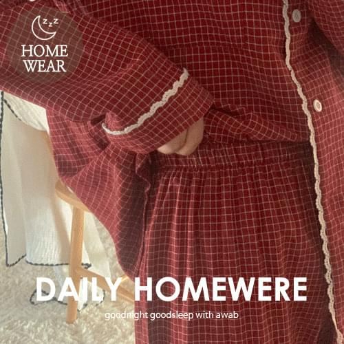 #homewear:_lamel check pajamas set