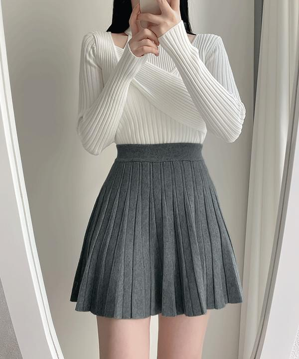The Bay Pleated Knit Skirt 2color