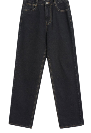 Bead wide brushed denim trousers