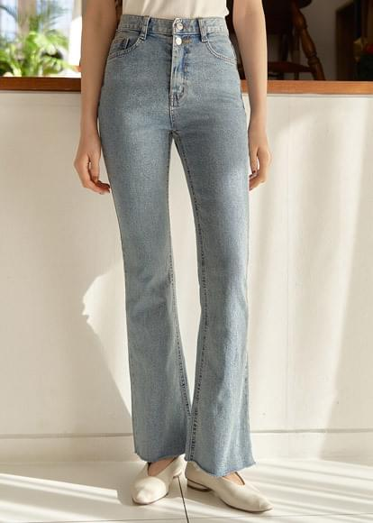 Two button cut Flared denim trousers