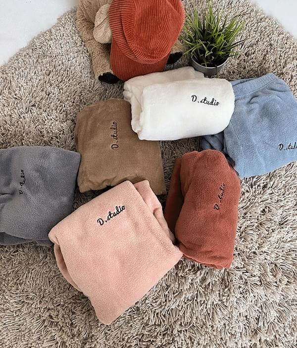 Embroidered Lettering Fuzzy Joggers